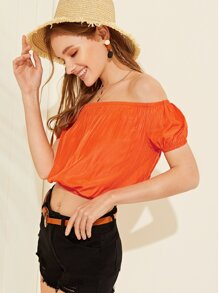 Off The Shoulder Solid Crop Blouse