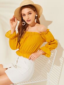 Off The Shoulder Solid Flounce Trim Blouse