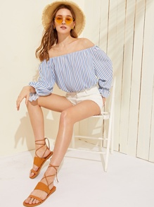 Bardot Vertical Striped Crop Blouse