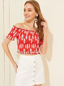Bardot Ditsy Floral Print Shirred Crop Blouse