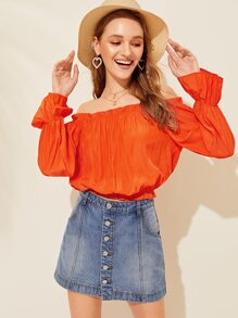 Bardot Frill Trim Solid Blouse