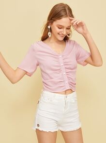 Button Front Ruched V-neck Blouse