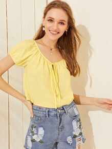 Solid Tie Front V-neck Blouse