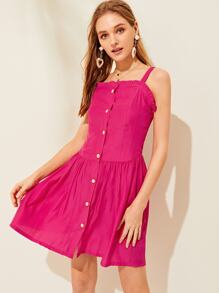 Frill Trim Button Front Tie Back Dress