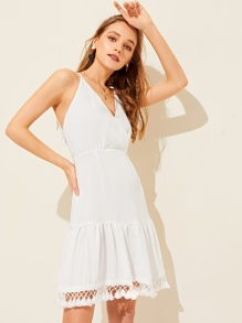 Backless Fringe Hem Surplice Cami Dress