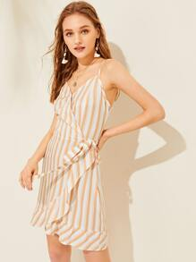 Vertical Striped Flounce Trim Wrap Dress