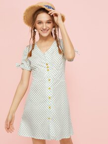 Polka Dot Button Front Knot Cuff Tea Dress