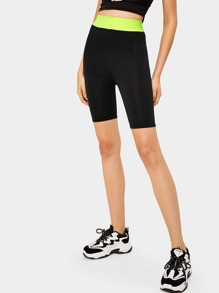 Contrast Panel High Waist Biker Shorts
