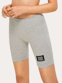 Ribbed Patched Skinny Cycling Shorts