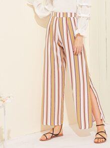 Striped Side Split Wide Leg Pants
