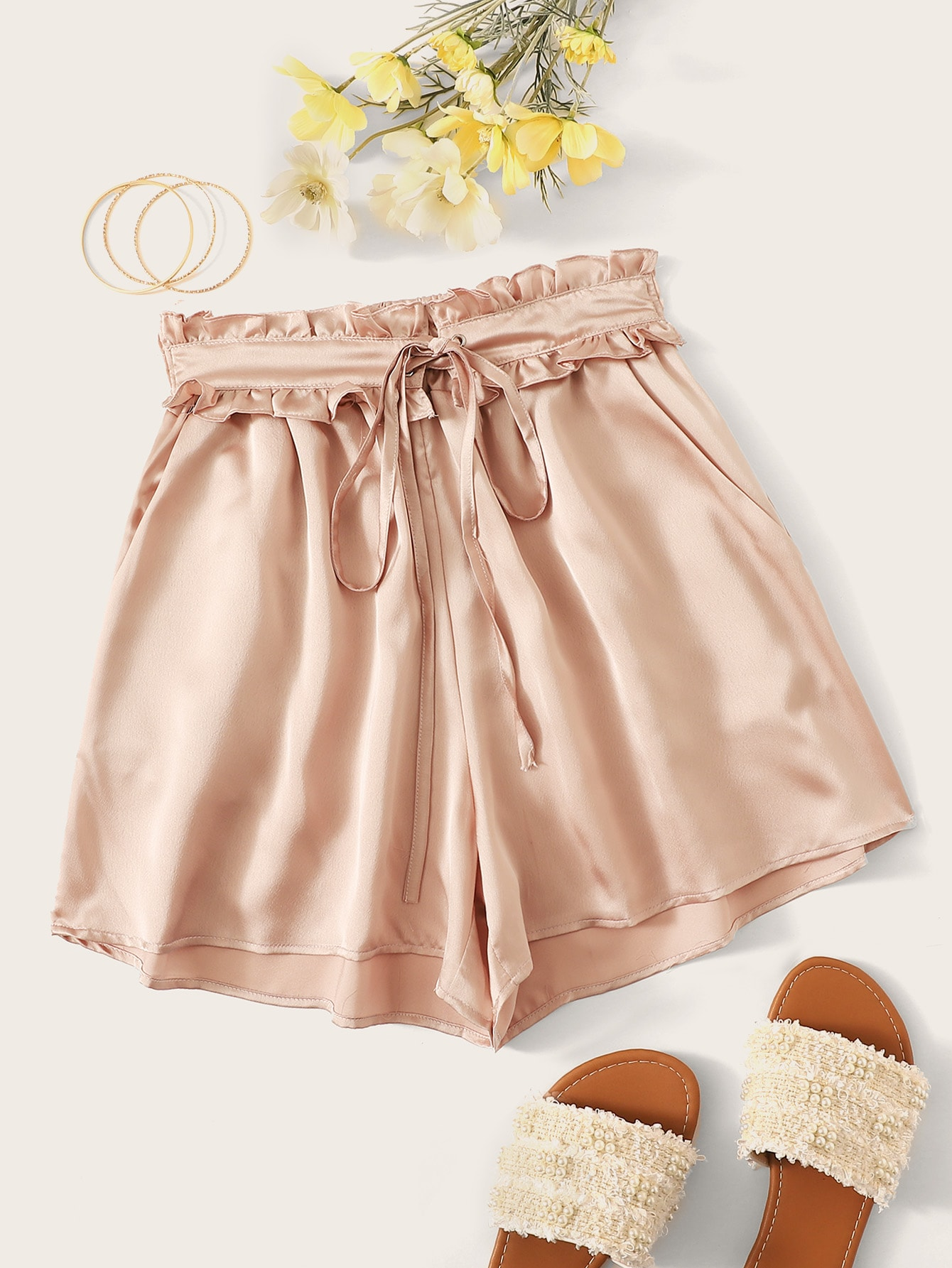 Solid Tie Front Satin Paperbag Shorts by Romwe