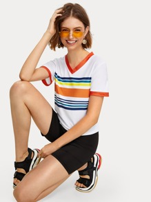 Contrast Binding Striped V-neck Tee