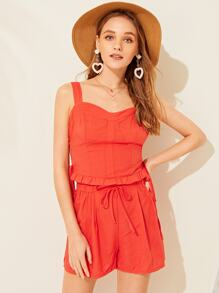 Frill Trim Side Lace-up Shirred Cami Top & Shorts