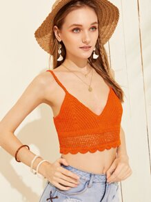 Solid Crochet Crop Cami Top