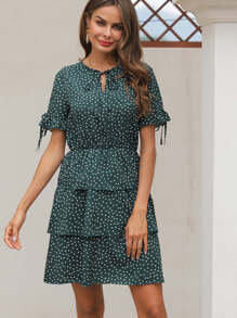 Polka Dot Knotted Tiered Layered Dress