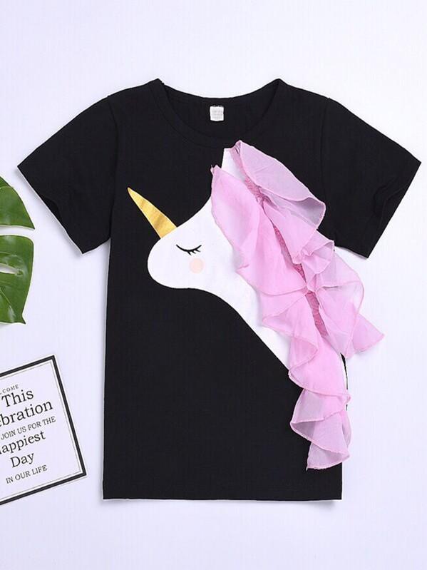 433579f772eb71 Camiseta de niñitas con malla en contraste con estampado de unicornio