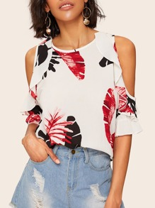 Cold Shoulder Tropical Print Blouse