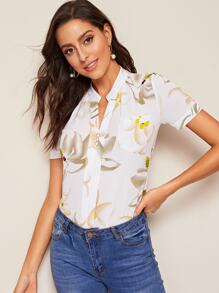 Floral Print Button Trim Blouse