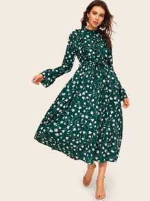 Ditsy Floral Print Flounce Sleeve Belted Dress