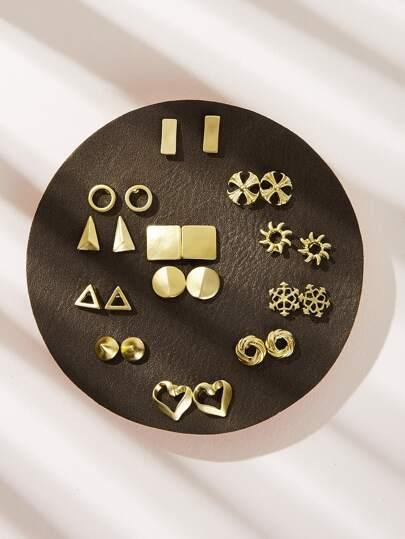 6e6d0d84511eb Geometric & Heart Shaped Metallic Stud Earrings 12pairs