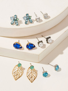 Gemstone & Leaf Stud Earrings 6pairs