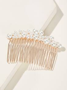 Faux Pearl Decor Hair Comb 2pack