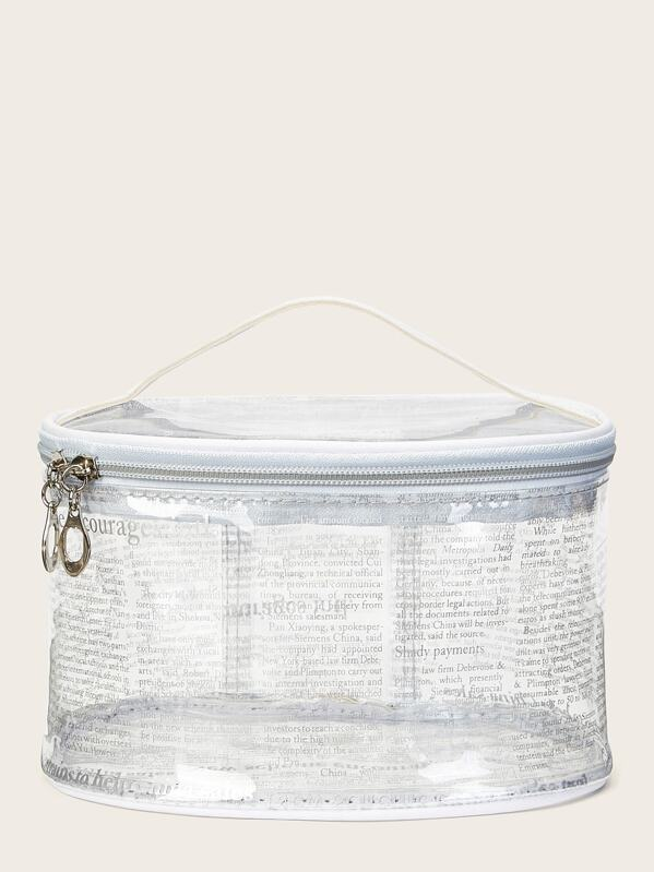 Letter Print Transpa Makeup Bag