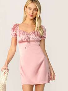 Tie Neck Crinkle Detail Puff Sleeve Satin Dress