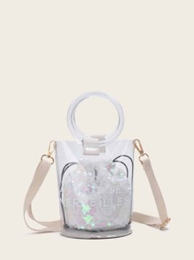 Slogan Print Clear Bag With Sequins Inner Clutch