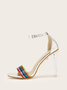 Colorful Open Toe Ankle Strap Heels