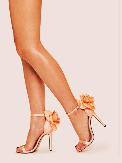 8e75abf9b Metallic Floral Decor Stiletto Heels