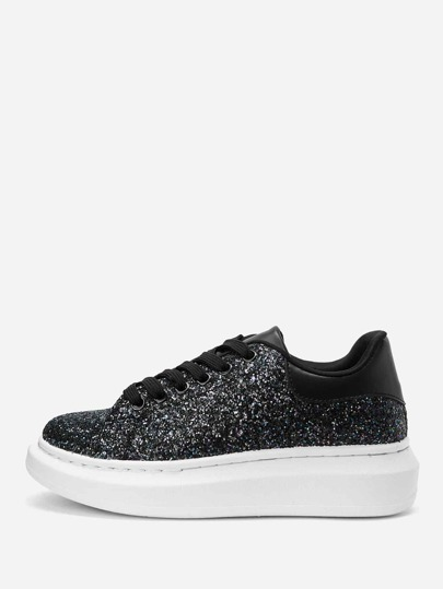 Glitter Lace-up Low Top Sneakers