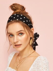 Polka Dot Print Self Tie Headband