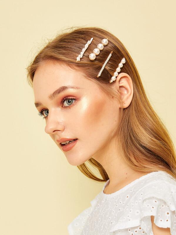 d23a8be20 Faux Pearl Decor Hair Clip 4pcs | SHEIN