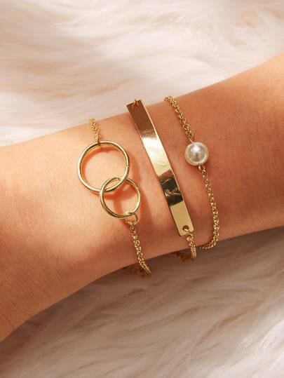 Bar & Double Circle Detail Chain Bracelet 3pcs