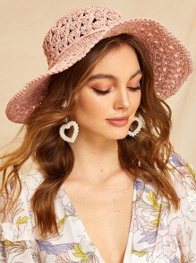 Flower Decor Hollow Straw Paper Floppy Hat