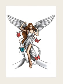 Lady Angel Shaped Tattoo Sticker 1sheet