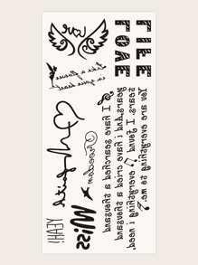 Letter & Wings Shaped Tattoo Sticker 1sheet