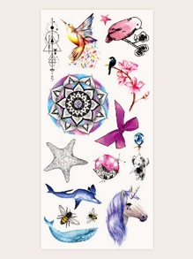 Animal & Plant Shaped Tattoo Sticker 1sheet