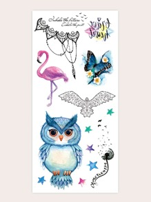 Animal & Star Shaped Tattoo Sticker 1sheet
