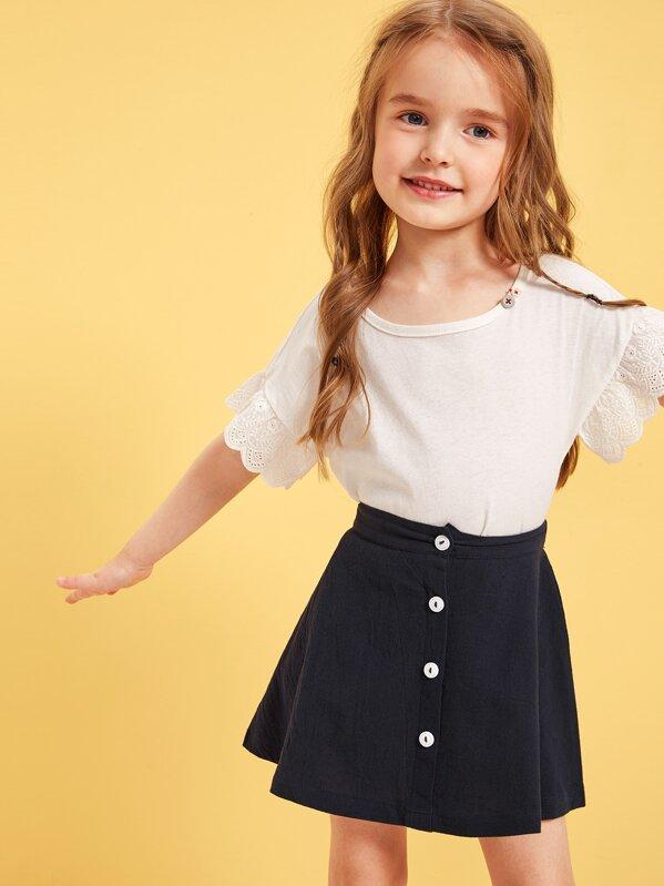 ae8c064345e28 Toddler Girls Button Front Skater Skirt | SHEIN