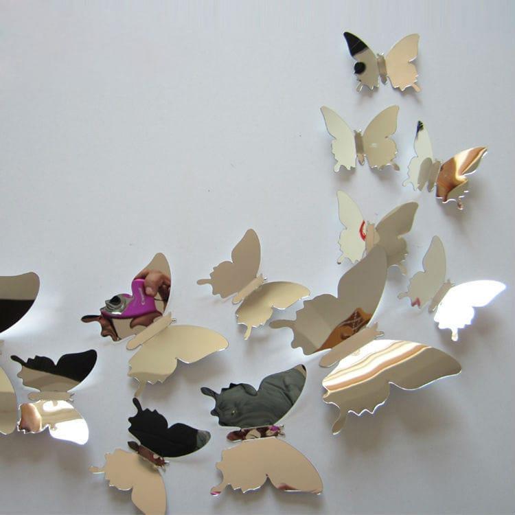 Wanddekor mit 3D Schmetterling Dekor 12pcs