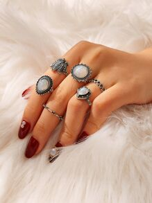 Lotus & Heart Ring Set 6pcs