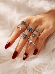 Triangle & Moon Detail Ring Set 7pcs