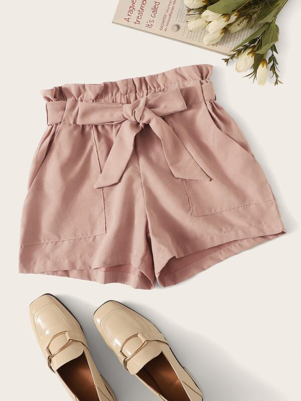 Paperbag Waist Pocket Patched Shorts by Shein