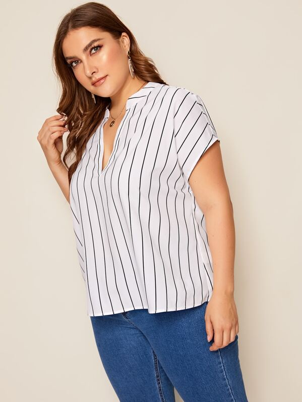 4a4e8d1fb4f802 Plus V Neck High Low Vertical Striped Top | SHEIN