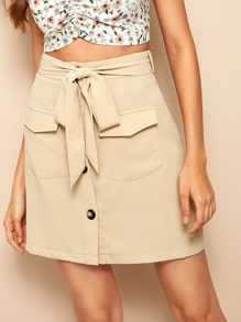 Button Front Flap Pocket Belted Skirt