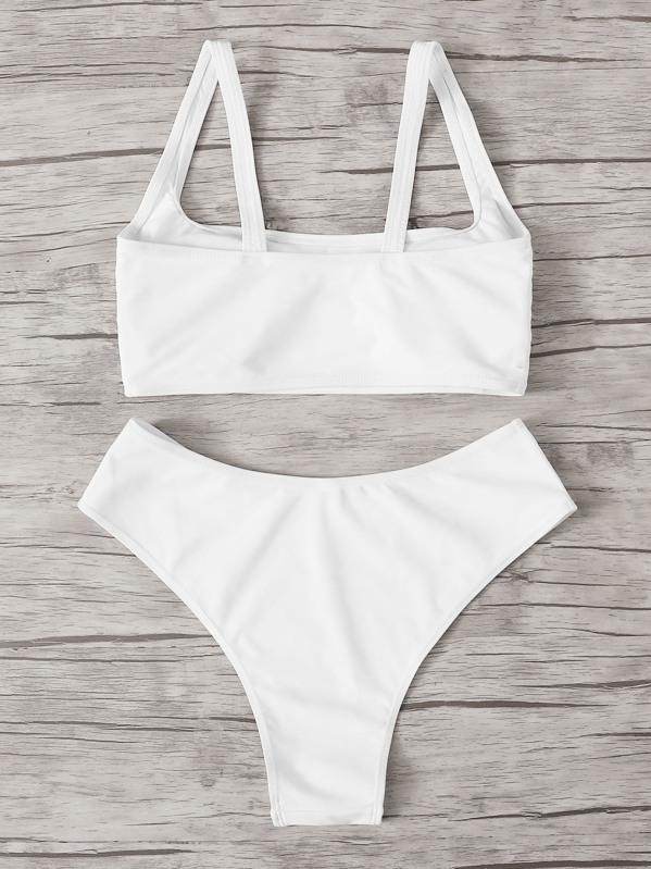2858a01b61 Square Neck Top With High Cut Bikini Set | SHEIN IN