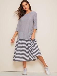 Pocket Front Ruffle Hem Striped Hijab Dress