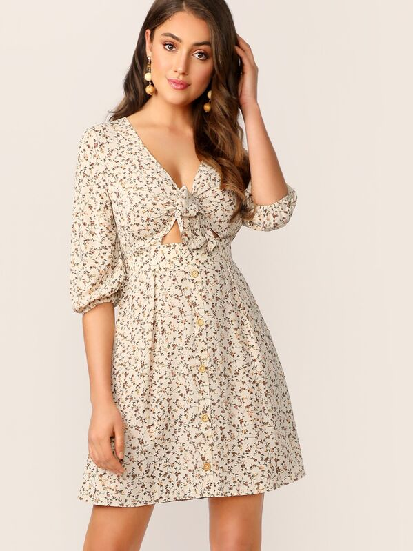 caa8e93658 Cheap Ditsy Floral Knot Front Peekaboo Dress for sale Australia | SHEIN